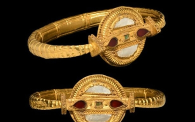 Gold Armlet with Mother of Pearl and Garnets