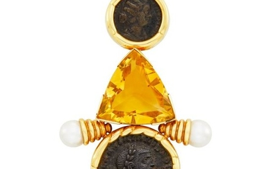 Gold, Bronze Coin, Citrine and Cultured Pearl Clip-Brooch