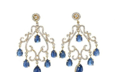 Gold earrings with diamonds and sapphires