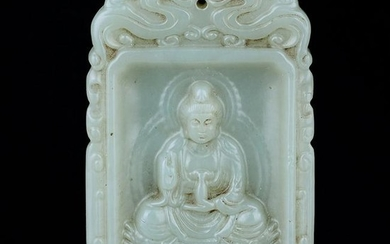 Good Chinese Carved Jade Buddha Plaque