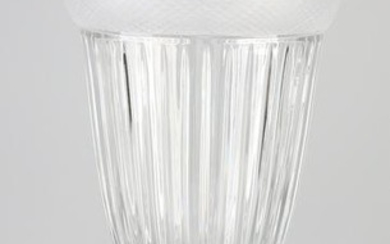 Grand Bohemian crystal glass vase with satin edging.