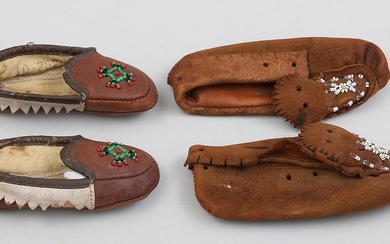 Group of (2) pairs of Native American leather child moccasins. FR3SH.