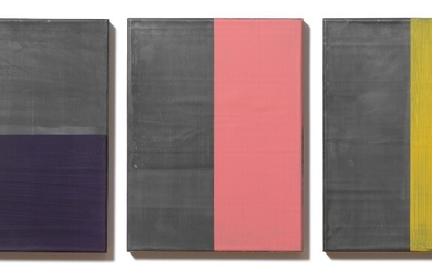 Günther Förg: Untitled, 2001. Signed, dated and numbered on the reverse. Acrylic on lead on wood. Each 40×30 cm. (3)
