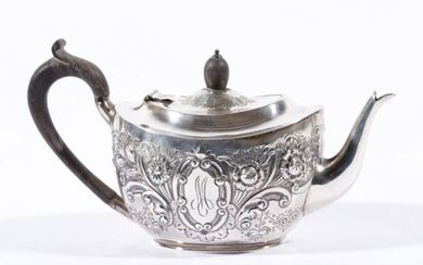 Hallmarked Sterling Silver Chased Bachelor Teapot L: 24cm (wt 312g) Birmingham, by Plante & Co. c1887