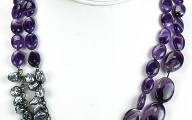 Handmade Double Strand Amethyst & Pearl Necklace