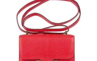 Hermes Micro Constance Bag Rouge Lizard Gold Hardware
