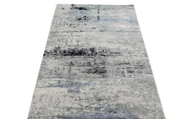 Hi low Pile Abstract Design Gray Runner Wool And Silk