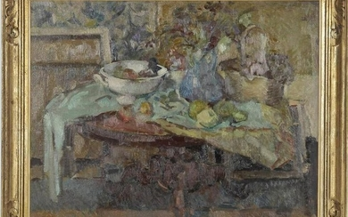 Interior with & nbsp; attributes on the table, canvas