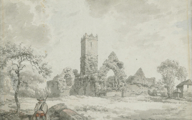 Irish School, 1826, An unidentified church, with a figure seated on a wall in the foreground