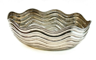 Italian Tiffany & Co. Sterling Silver Modernist Rippled