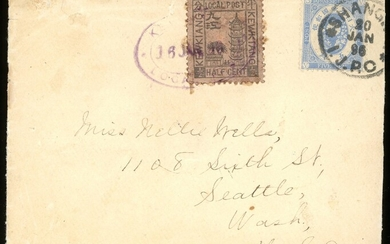Kewkiang Covers International Mail Japanese Post Office: 1896 (16 June) envelope to Seattle