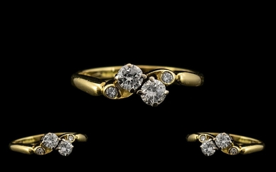 Ladies - Superb Quality and Pleasing 18ct Gold - Two Stone D...