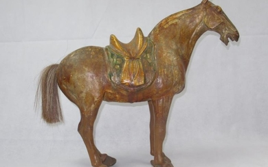 Large Chinese earthenware horse with painted colouring & hair...