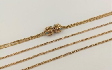 Long CHAIN GILETIERE in pink gold (750‰) holding a double chain and two runners decorated with turquoise and half pearls. Accidents and failures. French work, circa 1900.
