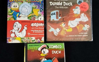 Lot of 3 Vintage Donald Duck Audio Stories and Comic