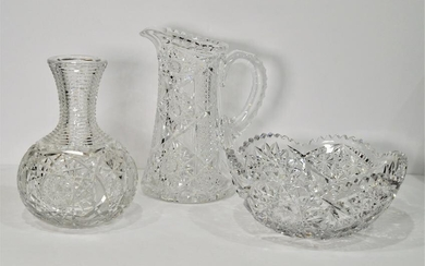 Lot3 Crystal Pitcher, Vase/Decanter and Bowl