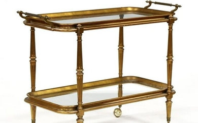 Louis XVI Style Gilt Wood and Glass Bar Cart