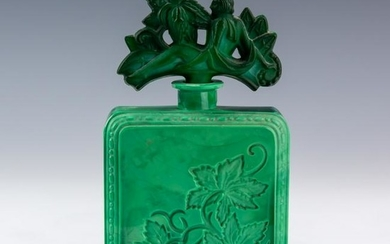 Malachite Glass Perfume Bottle Figural Nude Stop