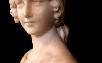 Marble bust of a Victorian maiden on marble stand