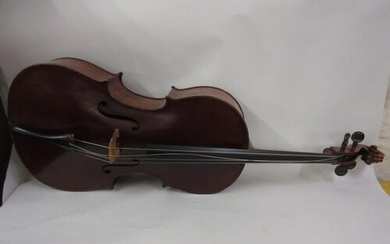 Mid 20th Century cello with a two piece back in a travel cas...