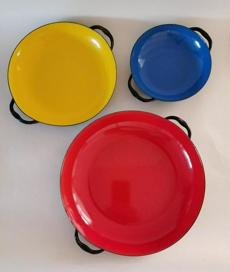 Mid Century 1950s West Germany Trio Enameled Dishes