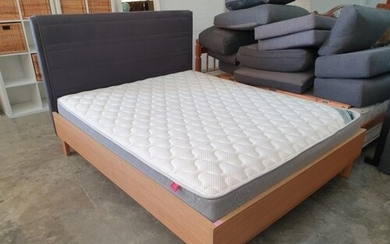Modern Double Bed with Light Wood Surround and Grey Fabric P...