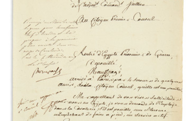 NAPOLÉON. Endorsement Signed, Bonaparte, as First Consul, requesting that Major Germain be assigned to a cavalry unit at the first op