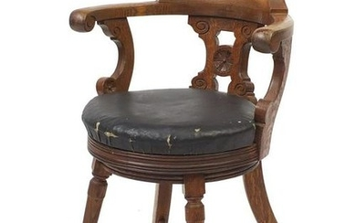 Naval interest oak captains chair, removed from HMS