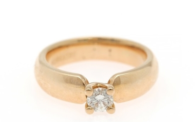 Nuran: A diamond solitaire ring set with a brilliant-cut diamond weighing app. 0.30 ct., mounted in 14k gold. W/VS. Size app. 50.5.