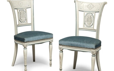 PAIR OF CHAIRS IN LACQUERED WOOD FRANCE EARLY 19TH CENTURY