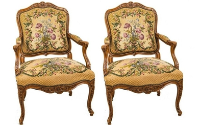 PAIR OF LOUIS XV STYLE CARVED WALNUT & UPHOLSTERED