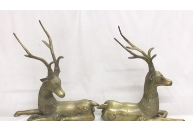 Pair Large Heavy Cast Brass Stag Figurines (2)