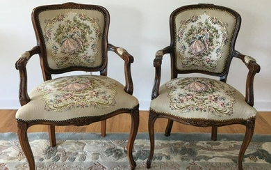 Pair Needlepoint Upholstered Arm Chairs