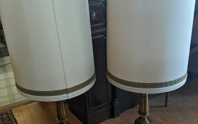 Pair c1970's Brass Stiffel Table Lamps w/ Original
