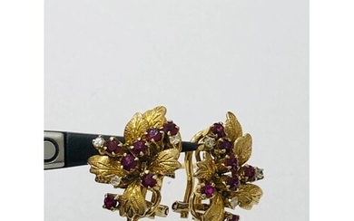 Pair of 14ct Yellow Gold Rubies and Diamonds Earrings, weigh...