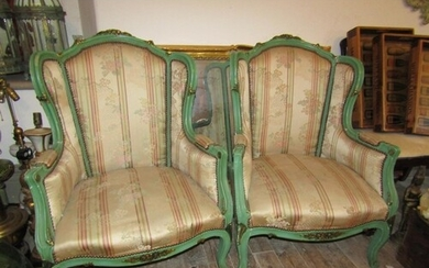 Pair of Antique Silk Upholstered Wingback Armchairs with Fre...