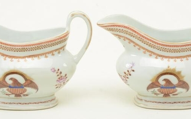Pair of Chinese export porcelain open-handle gravy