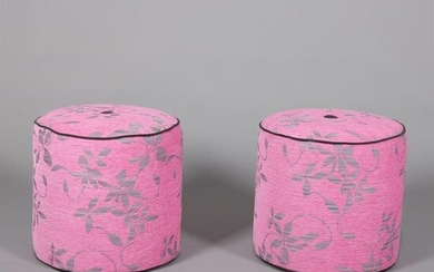 Contemporary Aesthetic Movement Style Fuschia Poufs