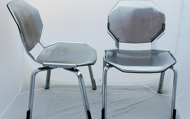 Pair of Industrial Chrome Metal Arm Chairs