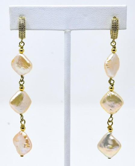 Pair of Pave & Coin Pearl Pendant Earrings