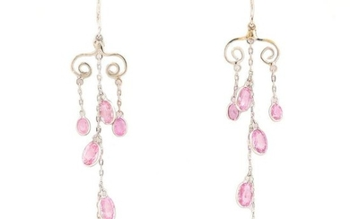 Pair of Pink Sapphire, 18k White Gold Earrings.