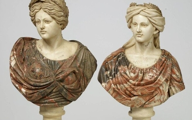 """Pair of busts of """"Femmes laurées"""" in carved white and red marble with black veins. Italian work. (Shards). H.:+/- from 72 to 75cm."""