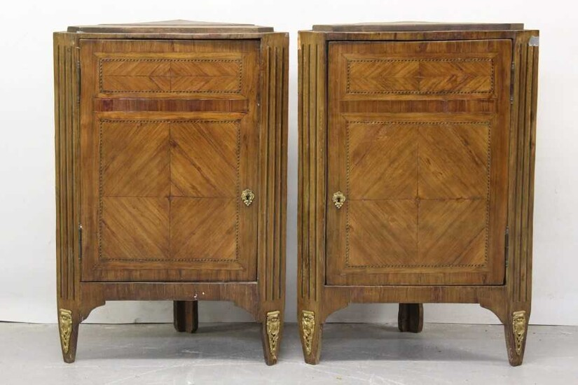 Pair of early 19th century French kingwood and parquetry inlaid corner cupboards