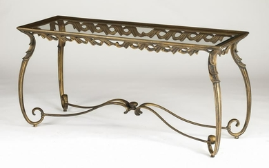 "Patinated bronze and glass console table, 60""l"