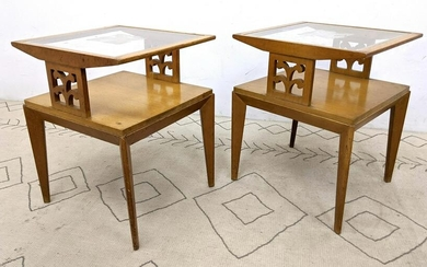 Pr Mid Century Modern Two Tier Side End Tables. inset g