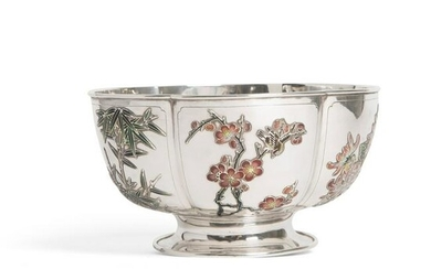 RARE ENAMELLED EXPORT SILVER BOWL QING DYNASTY, CUM WO