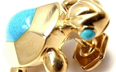 Rare! Authentic Cartier 18k Yellow Gold Turquoise
