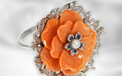 Ring: unusual coral flower ring with diamonds, sapphires...