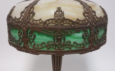 ANTIQUE SIGNED SLAG GLASS TABLE LAMP