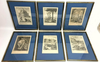 Set of 6 Framed Etchings of Animals and Folk Scenes. Pr